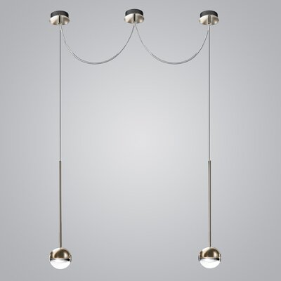2-Light LED Globe Pendant Finish: Satin Nickel/Transparent