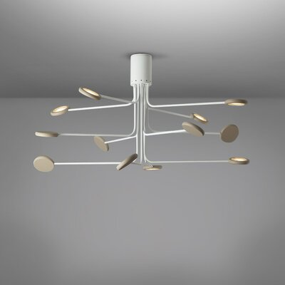 Arbor 12-Light LED Semi Flush Mount Fixture Finish: White/Dove Gray