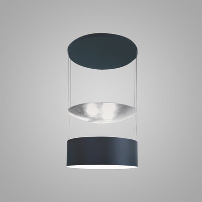 Eclisse 6-Light LED Drum Pendant Finish: Titanium/Silver Leaf