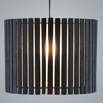 Luz Oculta Wood Suspension Drum Pendant Finish: Dark Oak/Brass
