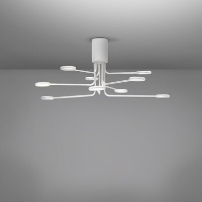 Arbor 9-Light LED Semi Flush Mount Fixture Finish: White