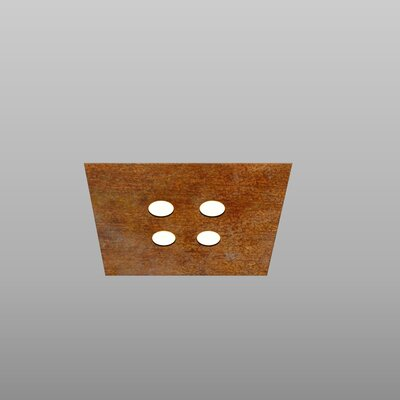 4-Light Flush Mount Fixture Finish: Rust