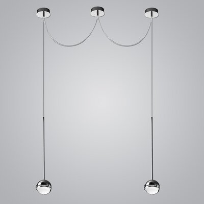 2-Light LED Globe Pendant Finish: Chrome/Satin