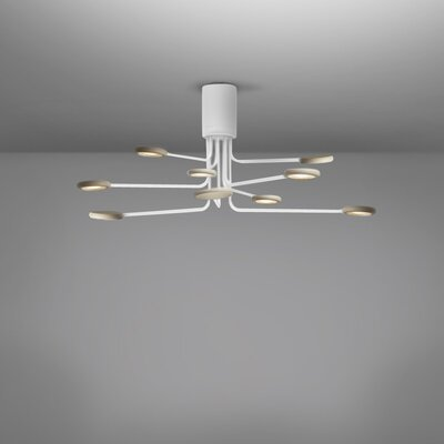 Arbor 9-Light LED Semi Flush Mount Fixture Finish: White/Dove Gray