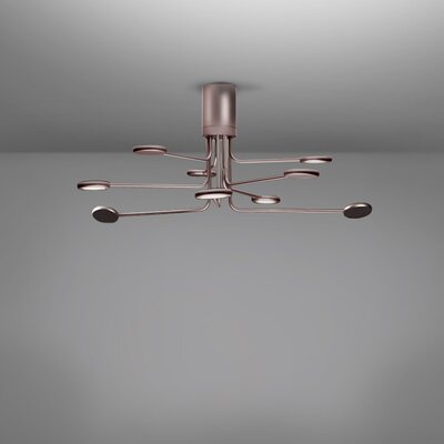 Arbor 9-Light LED Semi Flush Mount Fixture Finish: Copper/Silver