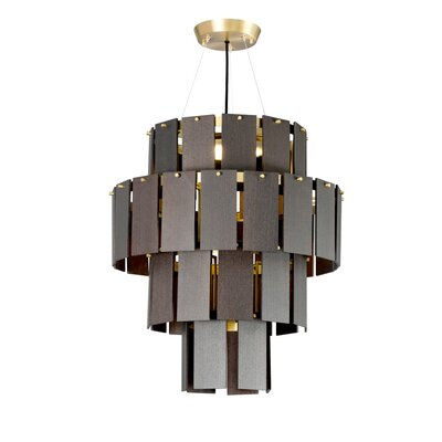 Quarz LED Drum Chandelier Finish: Brass/Dark Oak