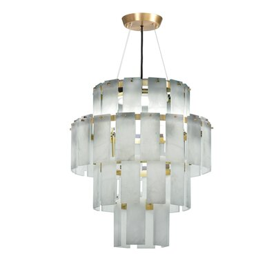 Quarz Drum Pendant Finish: Brass/White Alabaster