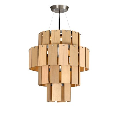 Quarz LED Drum Chandelier Finish: Pewter/Natural Oak