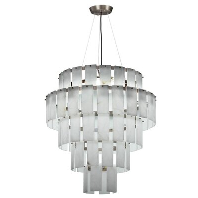 Quarz Drum Pendant Finish: Pewter/White Alabaster