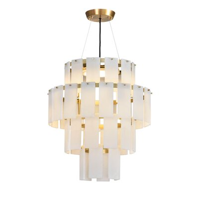 Quarz LED Drum Chandelier Finish: Brass/White Alabaster