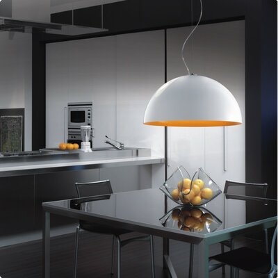 Anke 1-Light Inverted Pendant Size/Bulb Type: 19.5 Diameter/100W Incandescent, Color: White/White Metal
