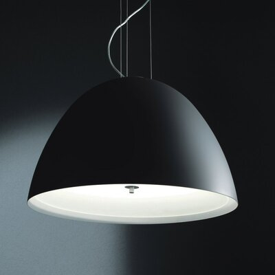 Willy 1-Light Inverted Pendant Size: Small, Finish: Metallic Gray with Black Glass