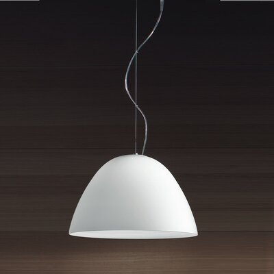Willy 1-Light Inverted Pendant Size: 11 H x 15.75 W x 15.75 D, Finish: Metallic Gray with White Glass