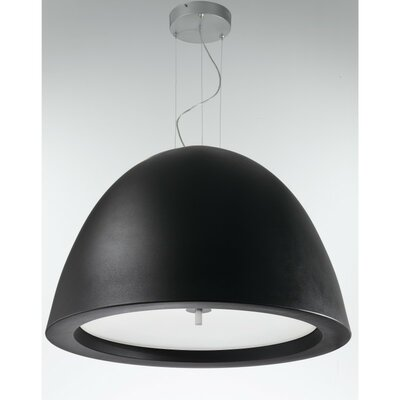 Willy 1-Light Inverted Pendant Size: Large, Finish: Metallic Gray with Black Glass