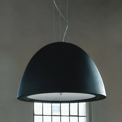 Willy 100 Bowl Pendant Bulb Type: 1 x 150W Metal Halide - E26 Medium base, Finish: Metallic Gray with Black Glass