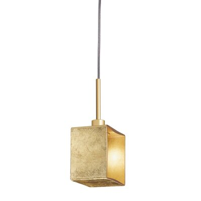 Domino 1-Light Mini Pendant Finish: Gold, Size: 11.5 H x 3.5 W x 5.5 D