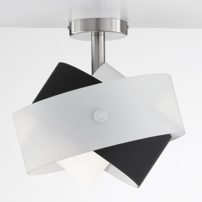 Tourbillon 1-Light Semi Flush Mount Shade Color: White / Black