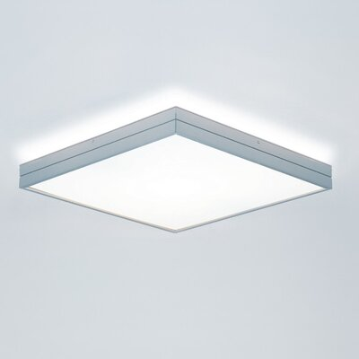 14.5 W Linea 1-Light Flush Mount Size: Large/, Finish: Brushed Aluminum, Bulb Type: Halogen T3Q (119mm)/1 x 150W