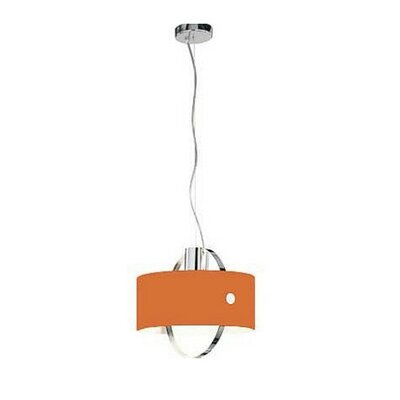 Ring 1-Light Drum Pendant Size: Medium - 9.825 Diam x 9 H / 1 x 60W max., Shade Color: Orange