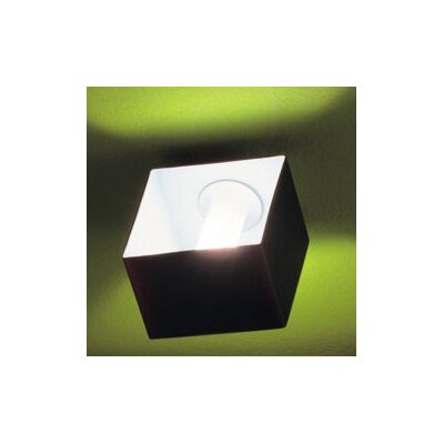 Domino 1-Light Flush Mount Size: 5.13 H x 3.13 W x 4.75 D, Shade Color: White Glass, Fixture Finish: Metallized Gray
