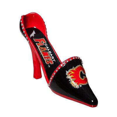 NHL Decorative Team Shoe 1 Bottle Tabletop Wine Rack NHL Team: Calgary Flames