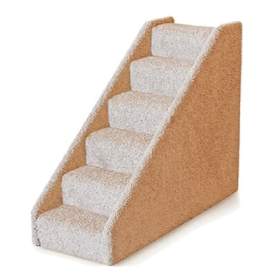 Small Solid Side 6 Step Pet Stair Color: Grey
