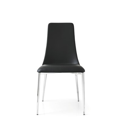 Etoile Side Chair Finish: Chromed, Upholstery: Top Grain Leather - Black