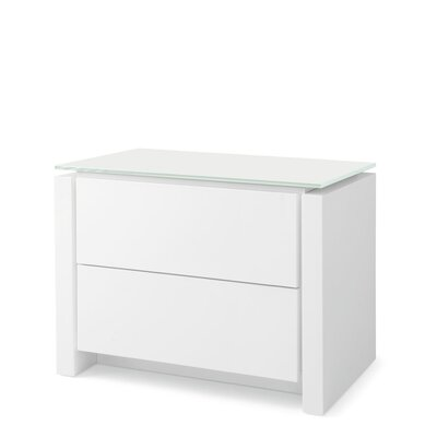 Mag 2 Drawer Nightstand Base Finish: Matte Optic White, Top Finish: Frosted Coffee