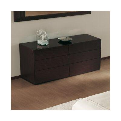 City 6 Drawer Double Dresser Bottom Color: Wenge, Top Color: Frosted Black