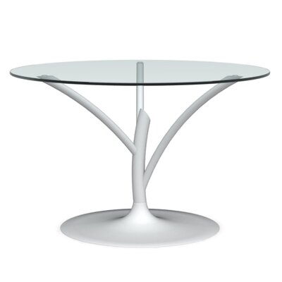 Acacia Small Fixed Dining Table Frame Finish: Matte Optic White, Color: Transparent, Leg Finish: Matte Optic White