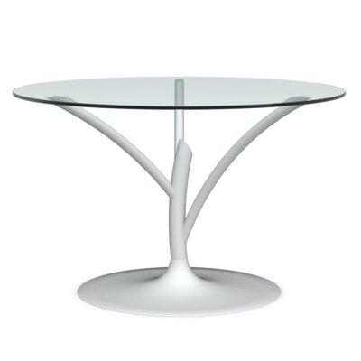 Acacia Small Fixed Dining Table Frame Finish: Matte Optic White, Color: Transparent, Leg Finish: Matte Optic White