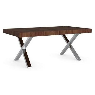 Axel Fixed Dining Table Base Color: Chromed, Top Color: Walnut