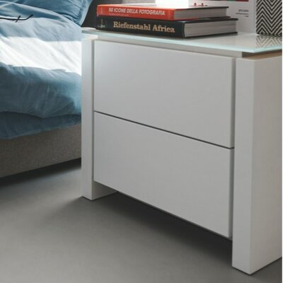 Mag 2 Drawer Nightstand Frame Finish: Matte Optic White, Top Finish: Frosted Extra White
