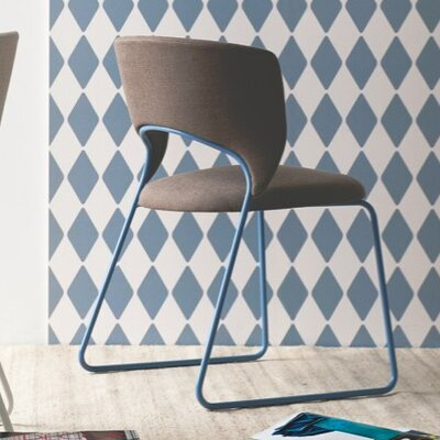 Duffy Upholstered Dining Chair Leg Color: Sky Blue, Upholstery Color: Denver Clay Brown
