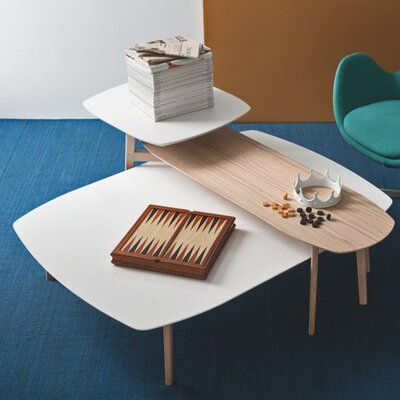 Match Coffee Table with Double Top Base Color: Natural, Top Color: Matt Optic White / Natural