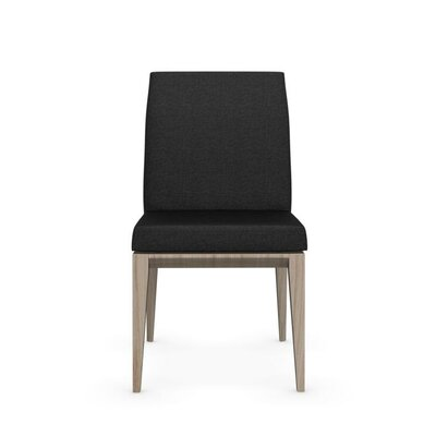 Bess Low Wooden Chair Upholstery: Sand, Finish: Walnut