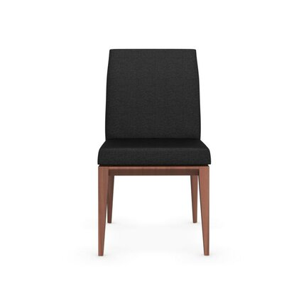 Bess Low Wooden Chair Upholstery: Anthracite, Finish: Walnut