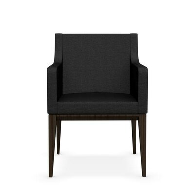 Bess Armchair Upholstered Wooden Arm Chair Finish: Walnut, Upholstery: Sand