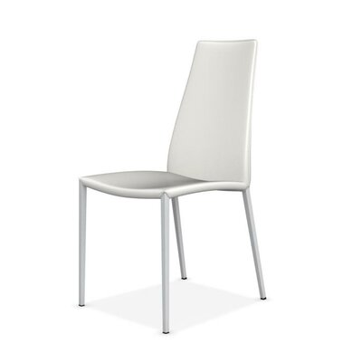 Aida Metal Genuine Leather Upholstered Dining Chair Upholstery: Optic White
