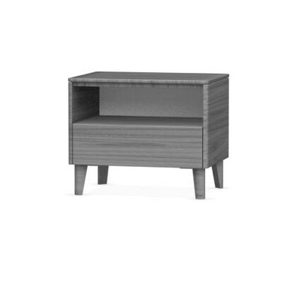 Boston 1 Drawer Nightstand Color: Grey, Leg Finish: Polished Aluminium, Finish: Grey