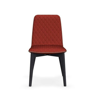 Sami Upholstered Wooden Chair Upholstery: Red, Finish: Graphite