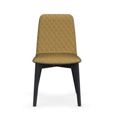 Sami Upholstered Wooden Chair Upholstery: Mustard Yellow, Finish: Graphite