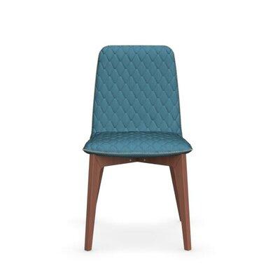 Sami Upholstered Wooden Chair Upholstery: Aquamarine, Finish: Walnut