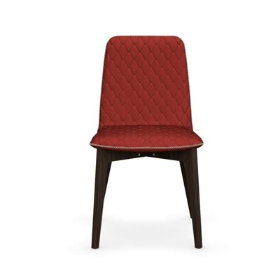 Sami Upholstered Wooden Chair Finish: Smoke, Upholstery: Red