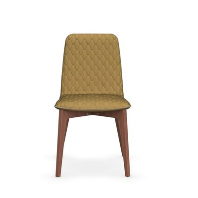 Sami Upholstered Wooden Chair Upholstery: Mustard Yellow, Finish: Walnut