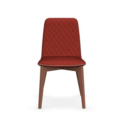 Sami Upholstered Wooden Chair Upholstery: Red, Finish: Walnut