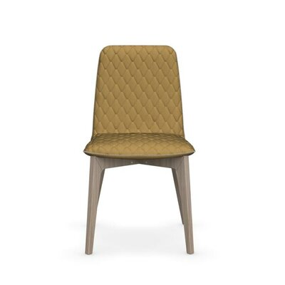 Sami Upholstered Wooden Chair Upholstery: Mustard Yellow, Finish: Natural
