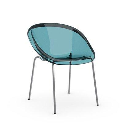 Bloom Straight Leg Chair Frame Finish: Chromed, Upholstery: Transparent Aquamarine, Leg Finish: Transparent Aquamarine