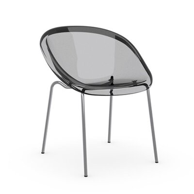 Bloom Straight Leg Chair Frame Finish: Matte Optic White, Upholstery: Transparent, Leg Finish: Transparent
