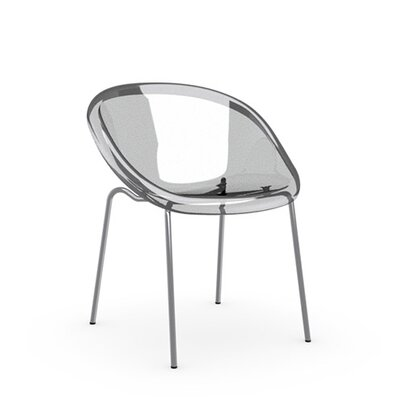 Bloom Straight Leg Chair Frame Finish: Chromed, Upholstery: Transparent, Leg Finish: Transparent